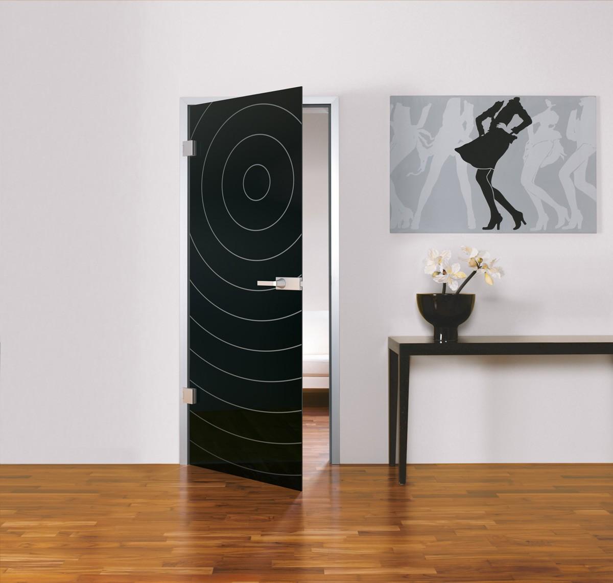 Ganz-Glastüre black mit Desing